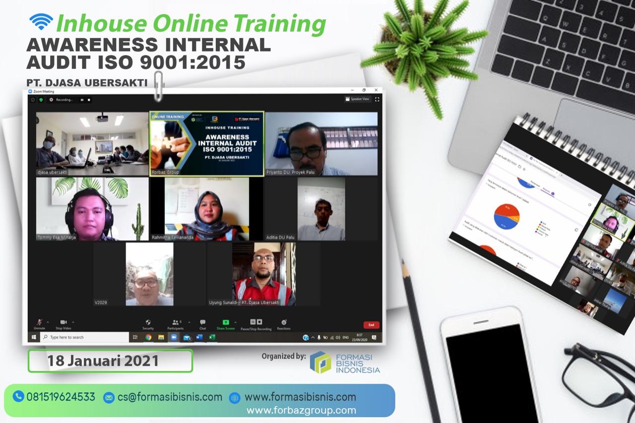 Online Training Awareness Internal Audit ISO 9001:2015 PT Djasa Ubersakti, 18 Januari 2021