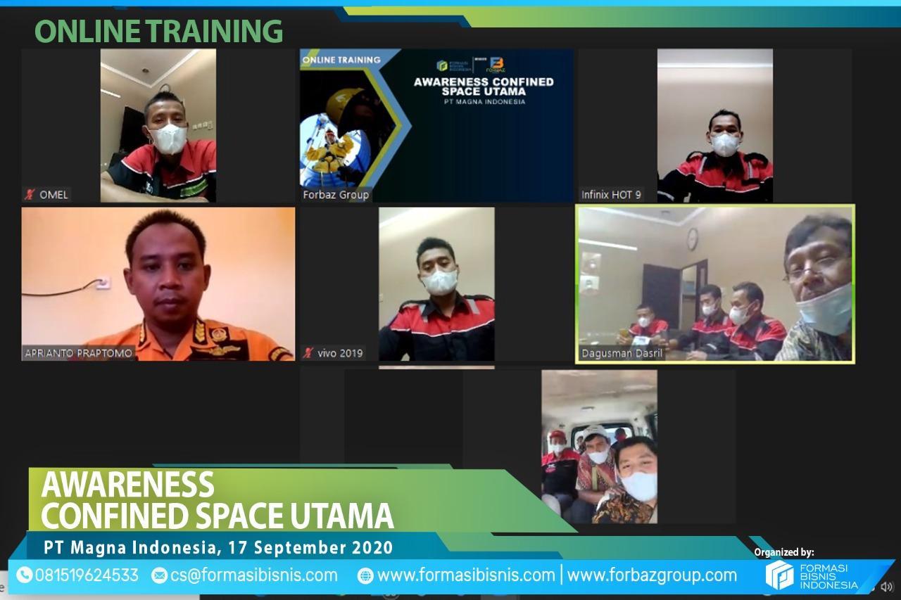Online Training Confined Space Utama Awareness PT Magna Indonesia