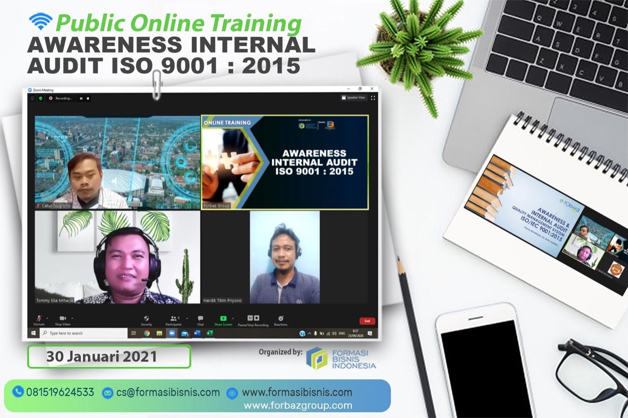 Online Public Training Awareness Internal Audit ISO 9001 2015, 30 Januari 2021