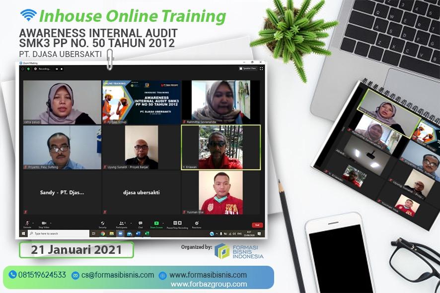 Online Training Awareness Internal Audit SMK3 PT Djasa Ubersakti, 21 Januari 2021