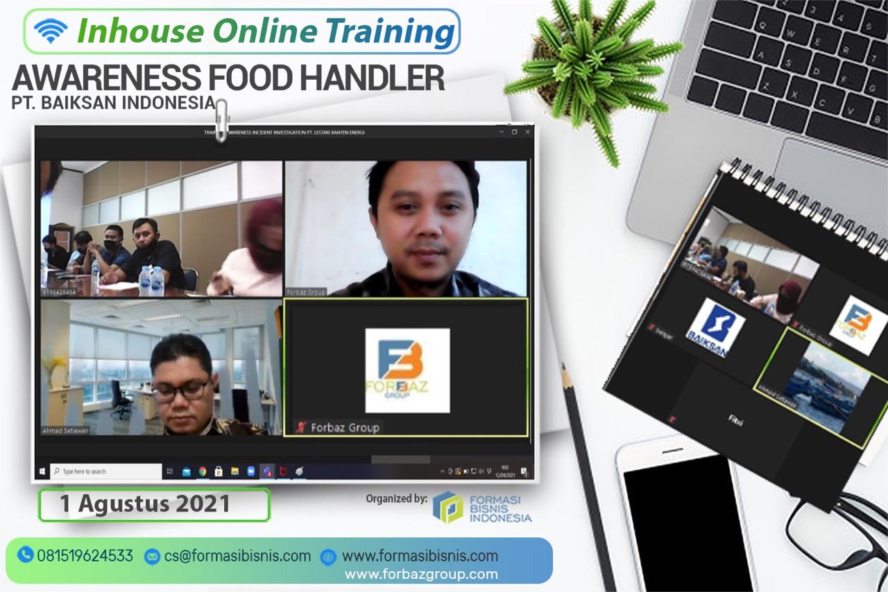 Online Training Food Handler Awareness PT Baiksan Indonesia, 1 Agustus 2021