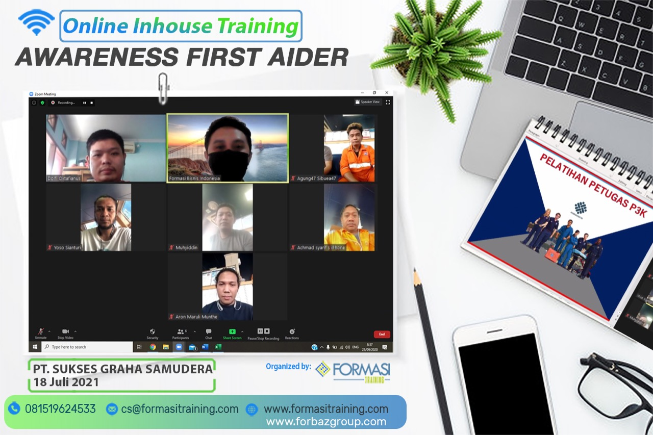Online Training First Aider Awareness PT Sukse Graha Samudera, 18 Juli 2021