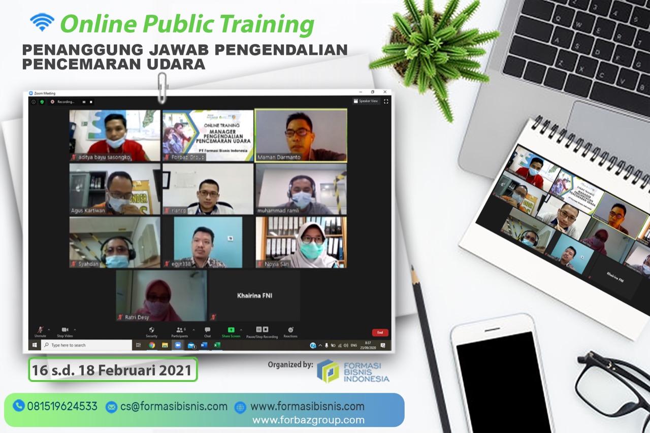 Online Public Training Penanggung Jawab Pengendalian Pencemaran Udara, 16-18 Feb 2021