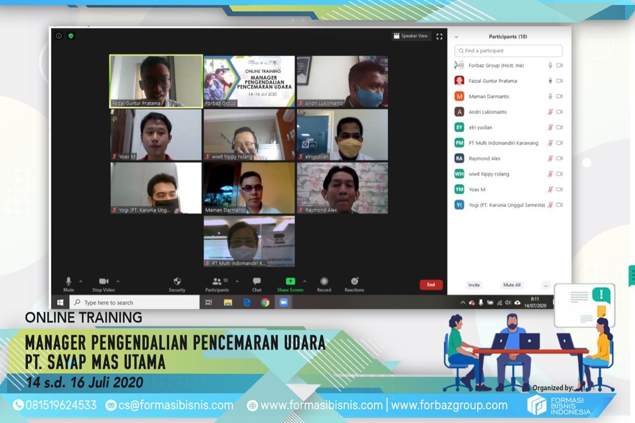 Online Training Pengendalian Pencemaran Udara Level Manager Sayap Mas Utama 14-16 Juli 2020