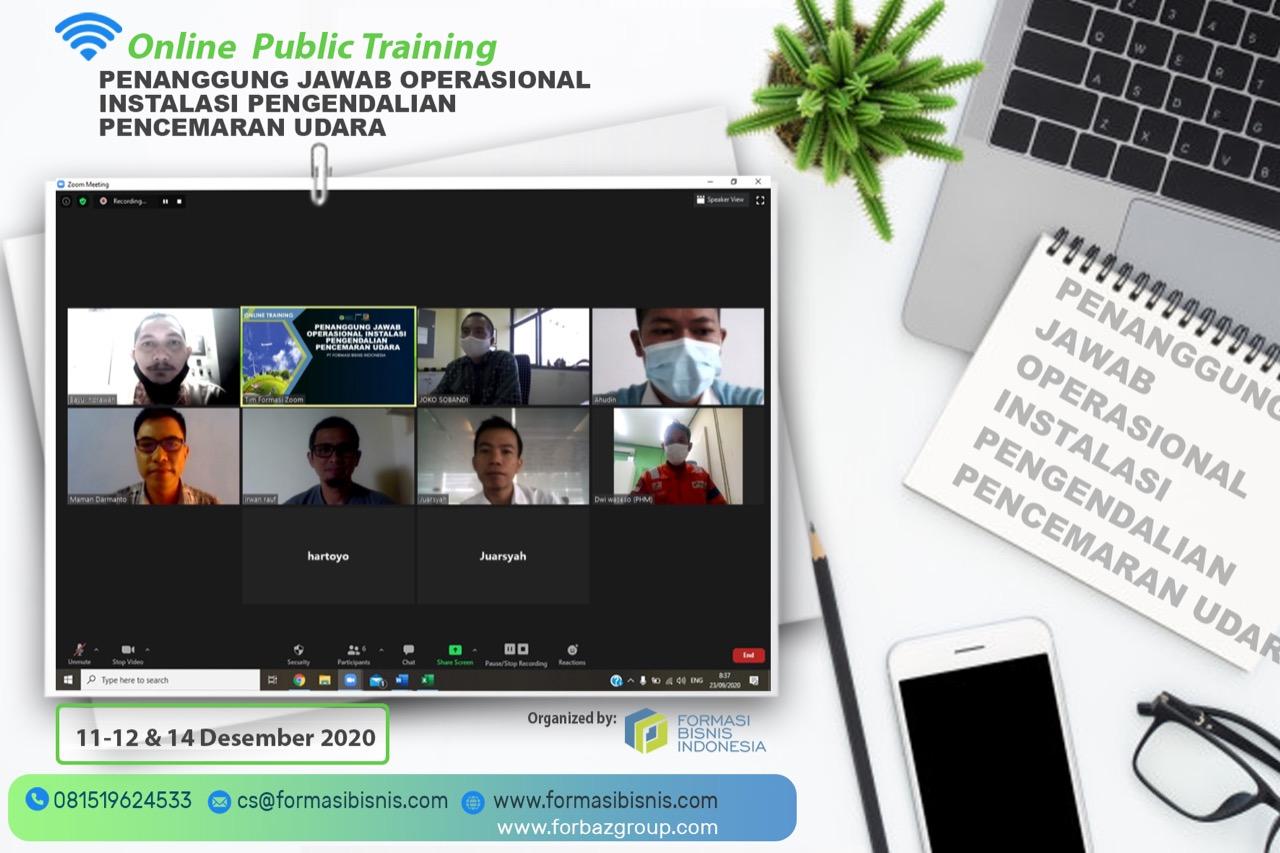 Online Public Training Penanggung Jawab Operasional Instalasi Pengendalian Pencemaran Udara, 11-12 & 14 Des 2020