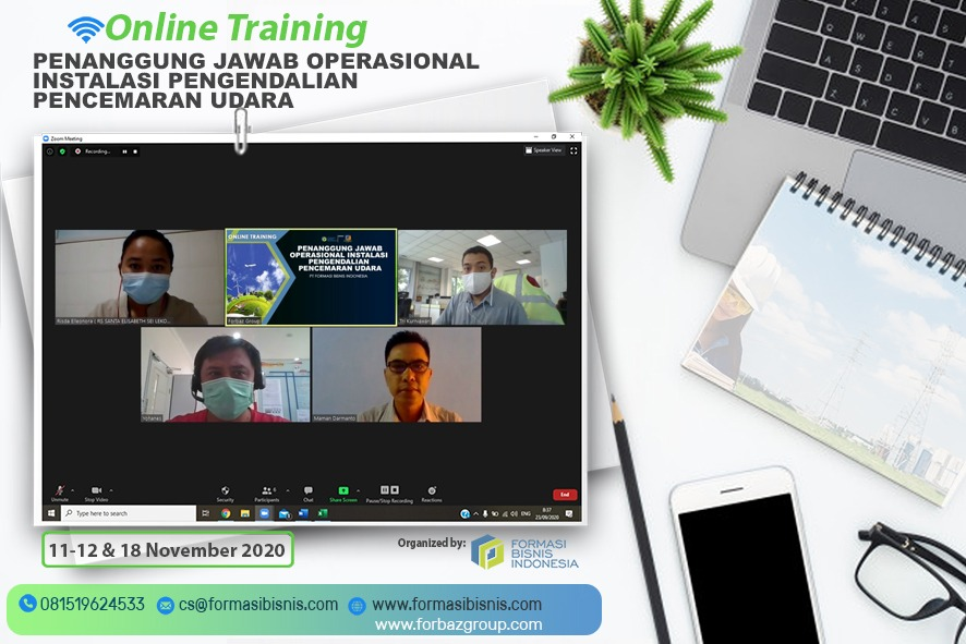 Online Training Penanggung Jawab Operasional Instalasi Pengendalian Pencemaran Udara BNSP, 11,12 & 18 November 2020