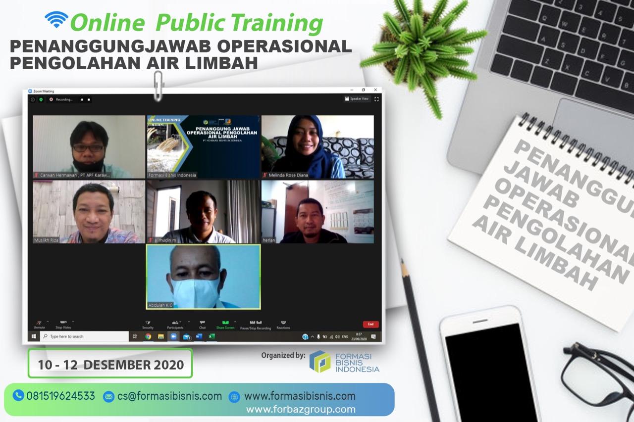 Online Training Penanggung Jawab Operasional Pengolahan Air Limbah BNSP, 10 s.d. 12 Desember 2020