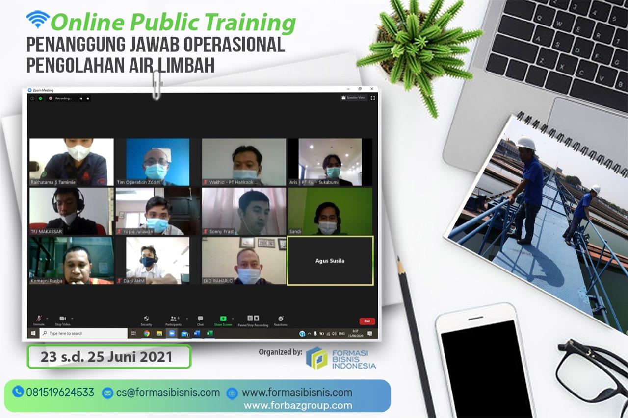 Online Training Penanggung Jawab Operasional Pengolahan Air Limbah, 23 - 25 Juni 2021