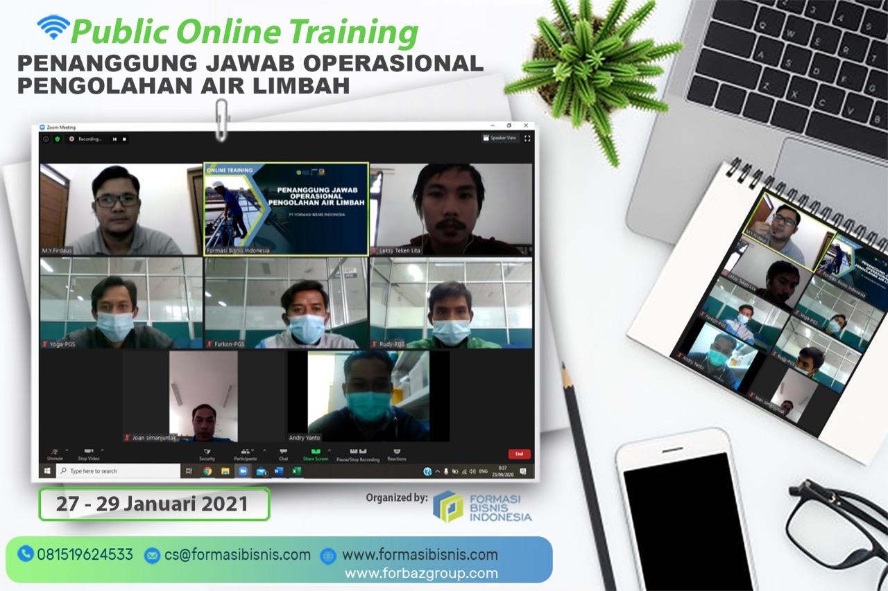 Online Training Penanggung Jawab Operasional Pengolahan Air Limbah BNSP, 27 - 29 anuari 2021
