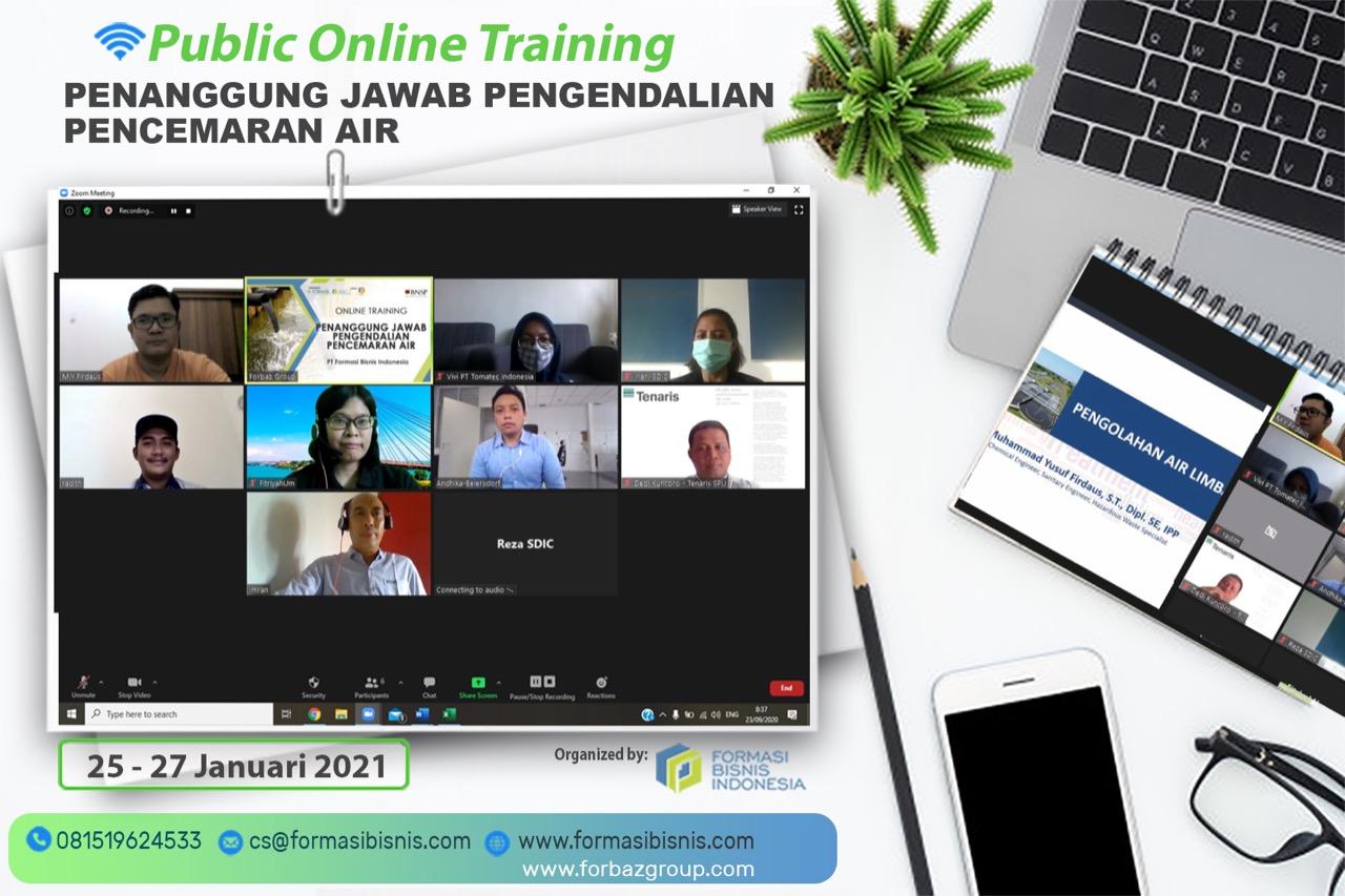Online Training Penanggung Jawab Pengendalian Pencemaran Air BNSP, 25 s.d. 27 Januari 2021