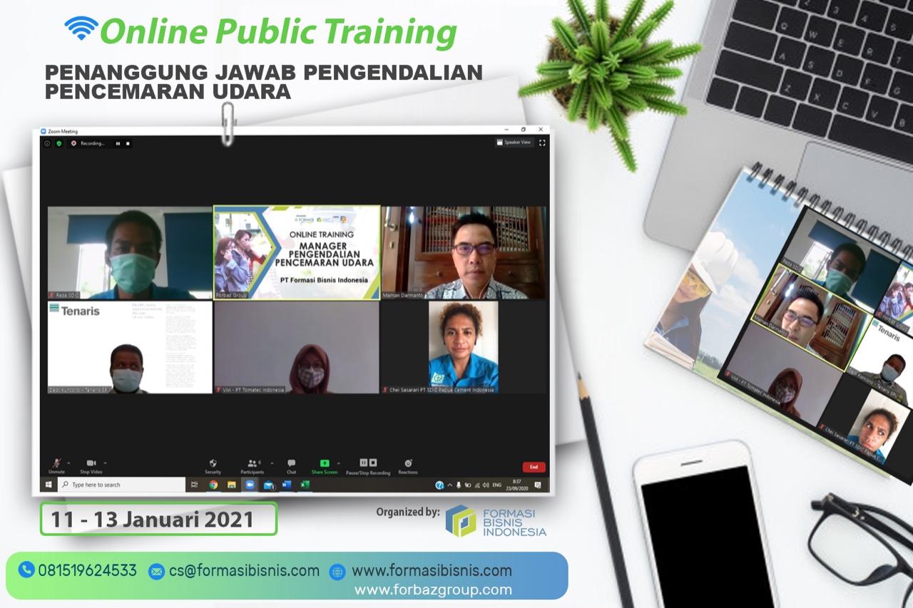 Online Training Penanggung Jawab Pengendalian Pencemaran Udara BNSP 11-13 Januari 2021