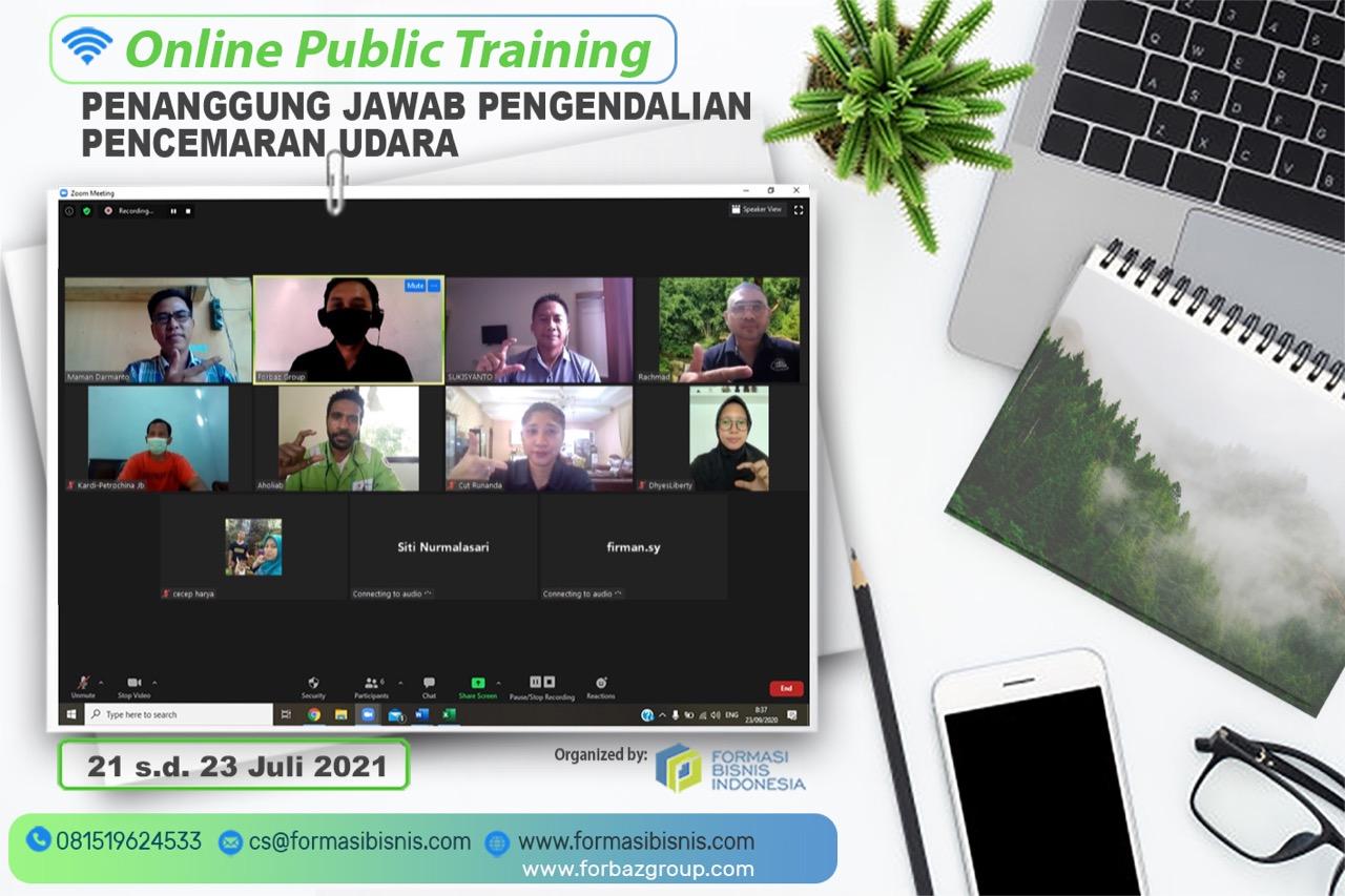 Online Training Penanggung Jawab Pengelolaan Pencemaran Udara, 21-23 Juli 2021