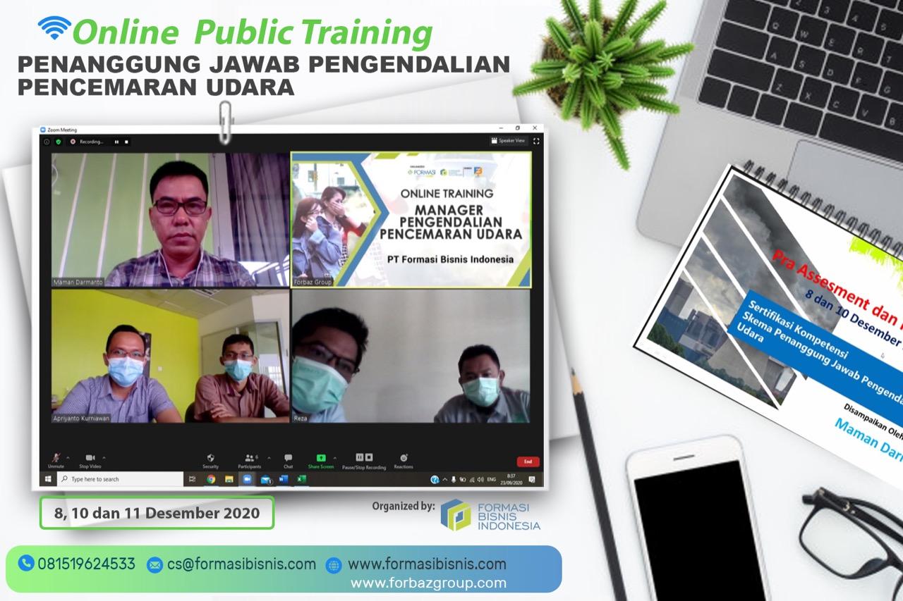 Online Training Penanggung Jawab Pengendalian Pencemaran Udara BNSP, 8,10 & 11 Desember 2020